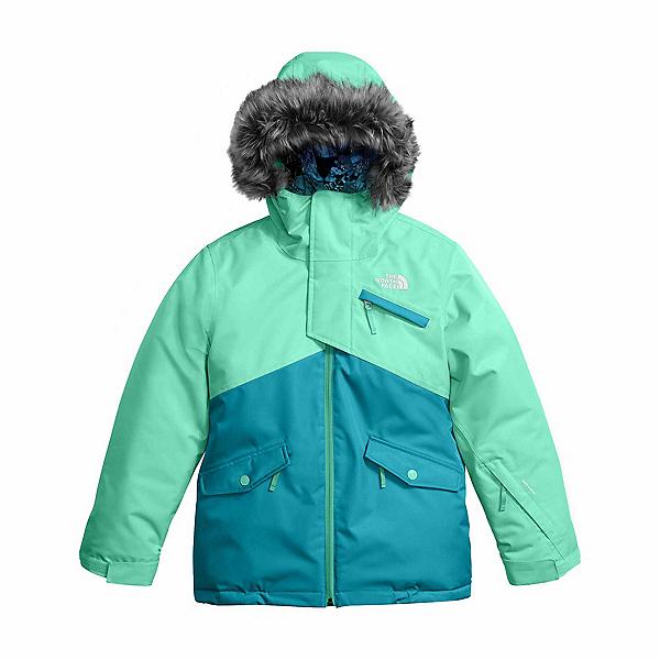 The North Face Caitlyn Insulated Girls Ski Jacket w/Faux Fur (Previous Season), Bermuda Green, 600