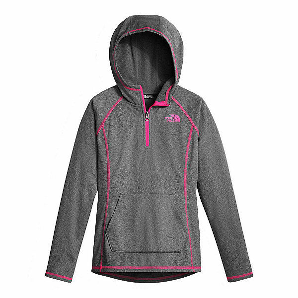 The North Face Girls Tech Glacier 1/4 Zip Kids Midlayer (Previous Season), TNF Medium Grey Heather, 600