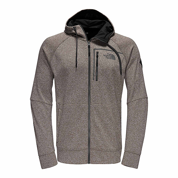 The North Face Mack Eaze Full Zip Mens Hoodie, Falcon Brown Heather-Black Ref, 600