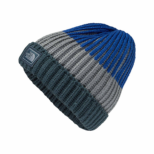 The North Face Basic Beanie Kids Hat (Previous Season), Conquer Blue-Mid Grey-Bright C, 600