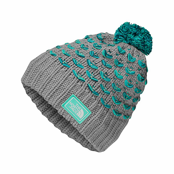 The North Face Chunky Pom Beanie Kids Hat, Metallic Silver-Bermuda Green, 600
