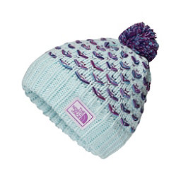 The North Face Chunky Pom Beanie Kids Hat, Origin Blue-Bellflower Purple, 256