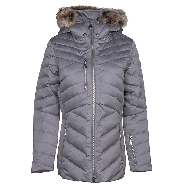 NILS Sonja w/Faux Fur Womens Insulated Ski Jacket, Steel Grey, 600