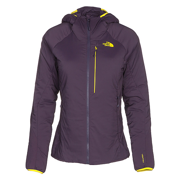 The North Face Ventrix Hoodie Womens Jacket (Previous Season), Dark Eggplant Purple-Acid Yell, 600
