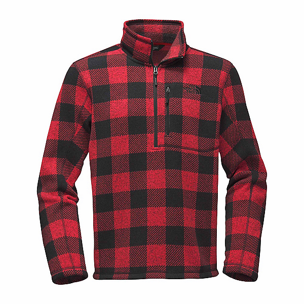 The North Face Novelty Gordon Lyons 1/4 Zip Mens Sweater, Cardinal Red Grizzly Print, 600