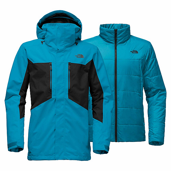 The North Face Clement Triclimate - Tall Mens Insulated Ski Jacket, Brilliant Blue-TNF Black, 600