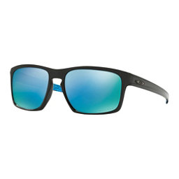 Oakley Sliver PRIZM Polarized Sunglasses, Polished Black-Prizm Deep Water Polarized, 256
