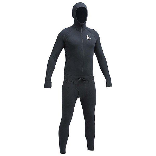 Air Blaster Classic Ninja Suit Mens Long Underwear Top, Black, 600