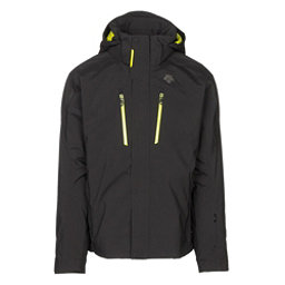 Descente Glade Mens Insulated Ski Jacket, Black-Sulfer Lime, 256