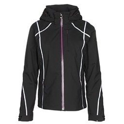 Descente Bree Womens Insulated Ski Jacket, Black-Super White-Deep Plum, 256