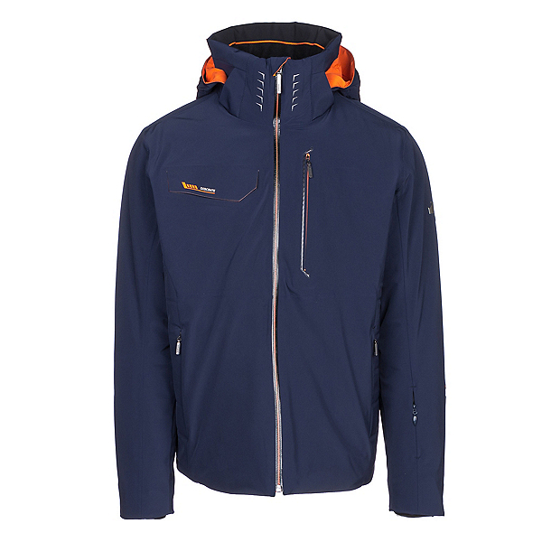 Descente Reign Mens Insulated Ski Jacket, Dark Night-Blaze Orange, 600