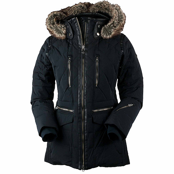 Obermeyer Blythe Down w/Faux Fur - Petite Womens Insulated Ski Jacket, Black, 600