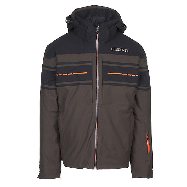 Descente Canada Ski Cross Mens Insulated Ski Jacket, Winter Moss-Black-Blaze Orange, 600