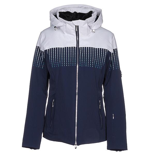 Descente Reagon Womens Insulated Ski Jacket, Super White-Dark Night, 600