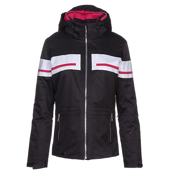 Descente Quincy Womens Insulated Ski Jacket, Black-Crimson Pink, 600