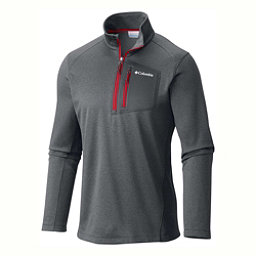 Columbia Jackson Creek Half Zip Mens Mid Layer, Graphite Heather-Mountain Red, 256
