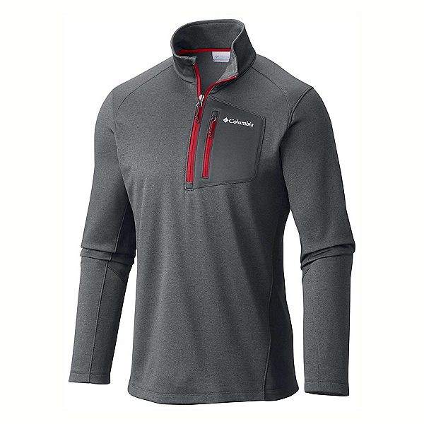 Columbia Jackson Creek Half Zip Mens Mid Layer, Graphite Heather-Mountain Red, 600