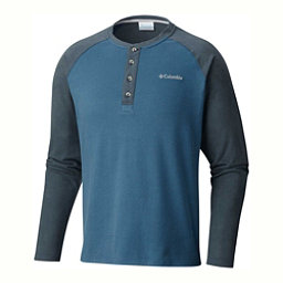 Columbia Ward River Henley Mens Mid Layer, Blue Heron-Mystery, 256