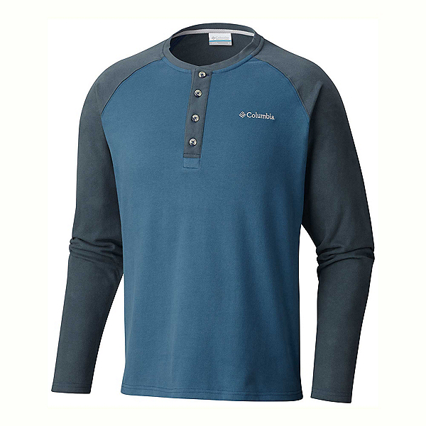 Columbia Ward River Henley Mens Mid Layer, Blue Heron-Mystery, 600