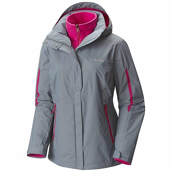 Columbia Bugaboo Interchange Plus Womens Insulated Ski Jacket, Grey Ash-Deep Blush, 600
