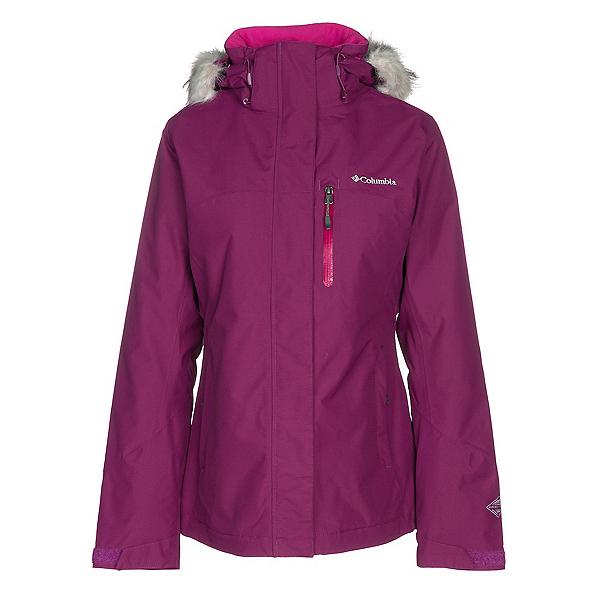 Columbia Lhotse Interchange w/Faux Fur Womens Insulated Ski Jacket, Dark Raspberry-Deep Blush, 600