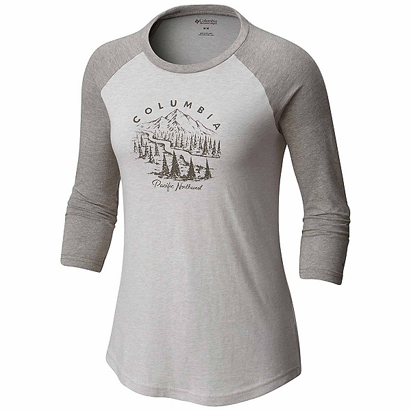 Columbia Mount Tabor Baseball Womens T-Shirt, Grey Heather, 600