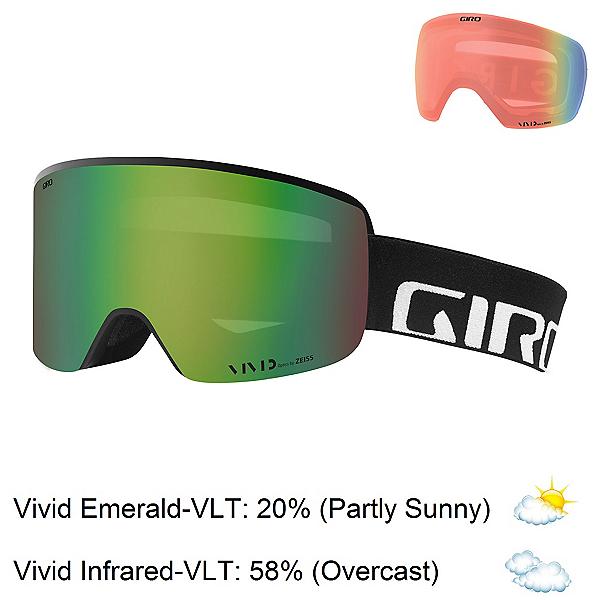 Giro Axis Goggles 2020, Black Wordmark-Vivid Emerald + Bonus Lens, 600