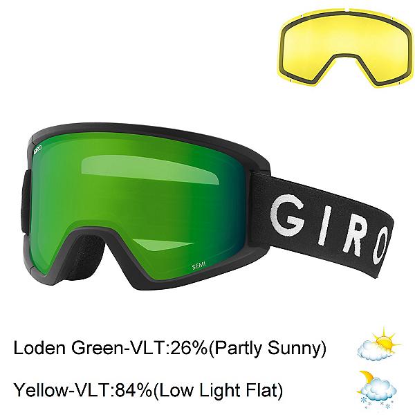 Giro Semi Goggles 2018, Black Core-Loden Green + Bonus Lens, 600