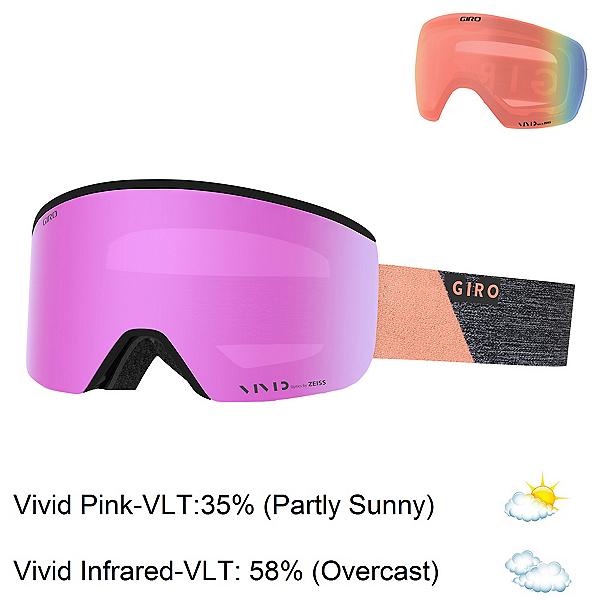 Giro Ella Womens Goggles 2019, Grey-Peach Peak-Vivid Pink + Bonus Lens, 600