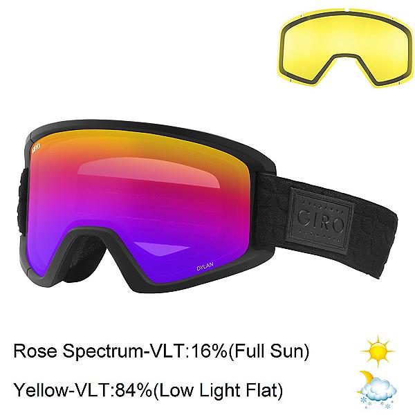 Giro Dylan Womens Goggles 2018, Black Quilted-Rose Spectrum + Bonus Lens, 600