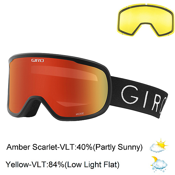 Giro Moxie Womens Goggles 2018, Black-Amber Scarlet + Bonus Lens, 600