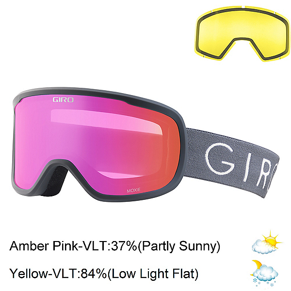 Giro Moxie Womens Goggles 2020, Titanium-Amber Pink + Bonus Lens, 600