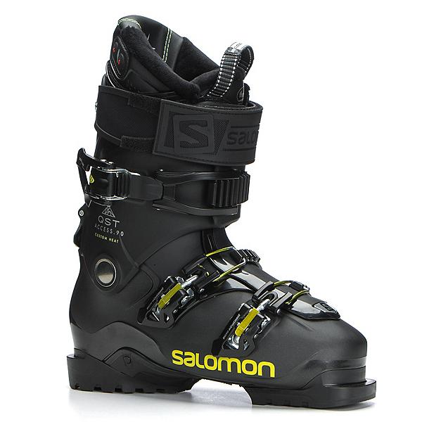 Salomon QST Access Custom Heat Ski Boots 2018, Metallic Black-Black-Acid Gree, 600
