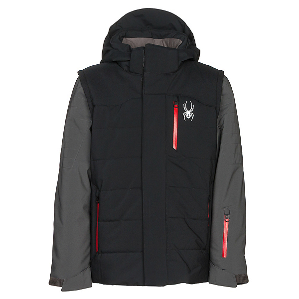 Spyder Axis Boys Ski Jacket, Black-Polar-Red, 600