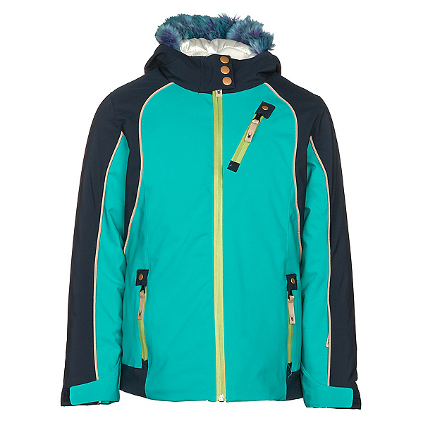 Spyder Posh Faux Fur Girls Ski Jacket, Baltic-Frontier, 600