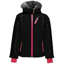 Spyder Posh Faux Fur Girls Ski Jacket, Black-Black, 256