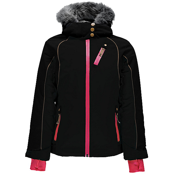 Spyder Posh Faux Fur Girls Ski Jacket, Black-Black, 600