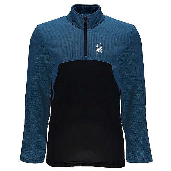 Spyder Capitol Fleece Half Zip Mens Mid Layer, French Blue-Black, 600