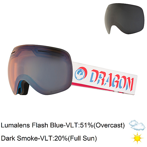 Dragon X1 Goggles 2018, Verge-Lumalens Flash Blue + Bonus Lens, 600