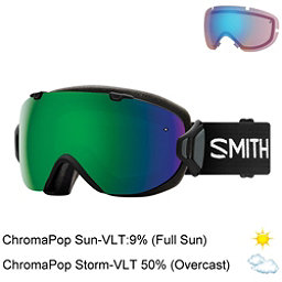 Smith I/OS Womens Goggles, Black-Chromapop Sun Green Mirr + Bonus Lens, 256