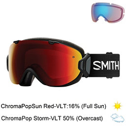 Smith I/OS Womens Goggles, Black-Chromapop Sun Red Mirror + Bonus Lens, 256