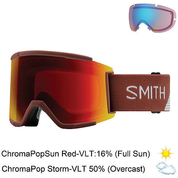 Smith Squad XL Goggles 2018, Adobe Split-Chromapop Sun Red + Bonus Lens, 600