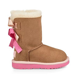 UGG Bailey Bow II Girls Boots, Chestnut-Pink Azalea, 256