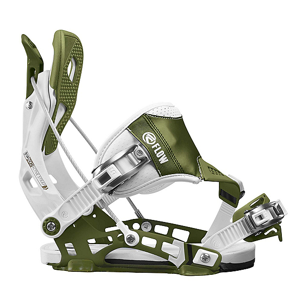 Flow NX2 Hybrid Snowboard Bindings, White-Green, 600