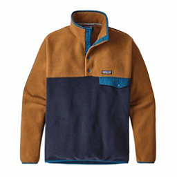 Patagonia Lightweight Synchilla Snap-T Mens Mid Layer, Navy Blue-Bear Brown, 256