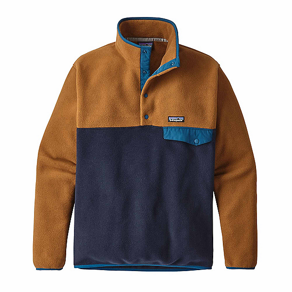 Patagonia Lightweight Synchilla Snap-T Mens Mid Layer, Navy Blue-Bear Brown, 600