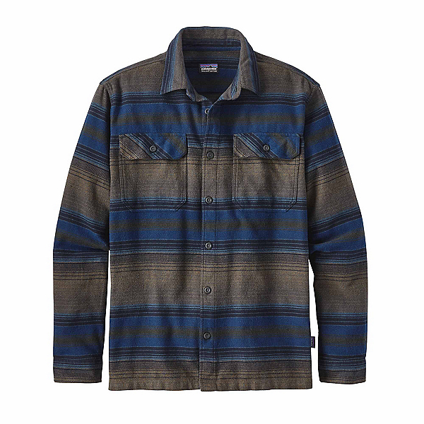 Patagonia Long Sleeved Fjord Flannel Shirt, Blanket Stripe Navy Blue, 600