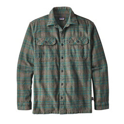 Patagonia Long Sleeved Fjord Flannel Shirt, Salty Flats Buffalo Green, 256