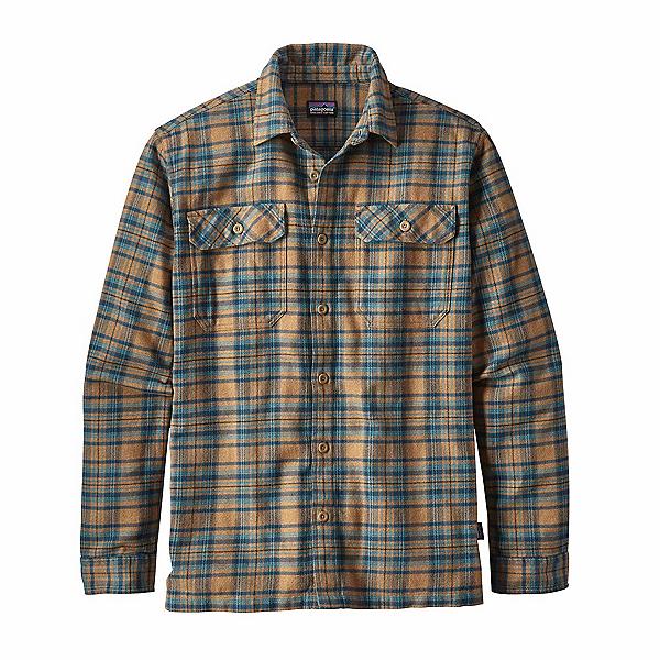 Patagonia Long Sleeved Fjord Flannel Shirt, Salty Flats Mojave Khaki, 600