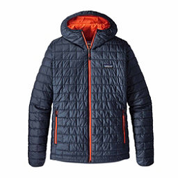 Patagonia Nano Puff Hoody Mens Jacket, Navy Blue-Paintbrush Red, 256
